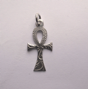 Sterling Silver engraved ankh cross pendant